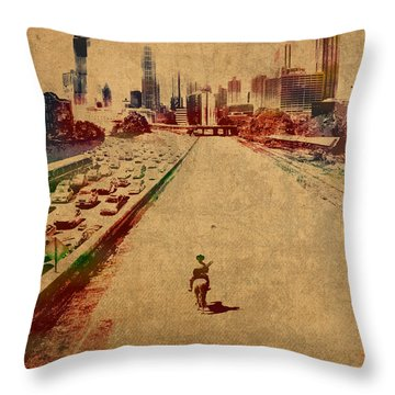 The Walking Dead Watercolor Portrait On Worn Distressed Canvas No 2 Throw Pillow by Design Turnpike