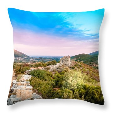 The Walls Of Ancient Messene - Greece. Throw Pillow