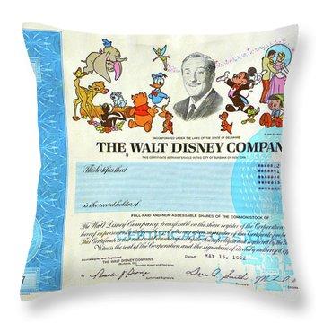 The Walt Disney Company Stock Cert Throw Pillow