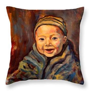 Throw Pillow featuring the painting The Warmth Of Winter by Angelique Bowman
