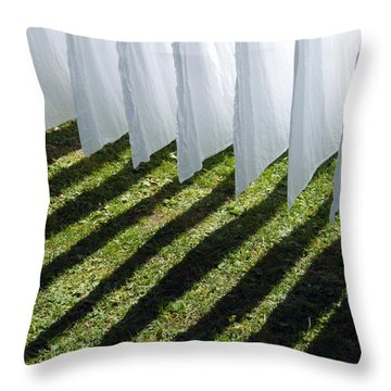 The Washing Is On The Line - Shadow Play Throw Pillow by Matthias Hauser