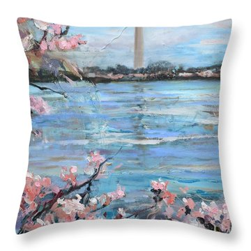 The Washington Monument At Cherry Blossom Festival Painting Throw Pillow