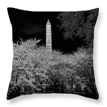 The Washington Monument At Night Throw Pillow by Lois Bryan