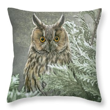 The Watcher In The Mist Throw Pillow