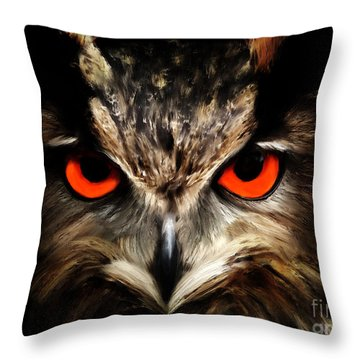 The Watcher - Owl Digital Painting Throw Pillow