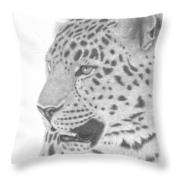 The Watchful Leopard Throw Pillow by Patricia Hiltz