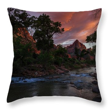 The Watchman Along The Virgin River Sunset Throw Pillow