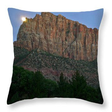 Throw Pillow featuring the photograph The Watchman And The Moon by Suzette Kallen