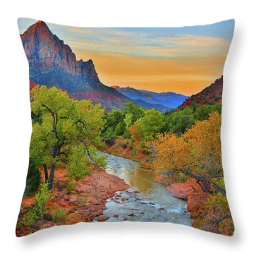 The Watchman And The Virgin River Throw Pillow