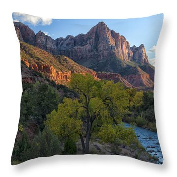 The Watchman And Virgin River Throw Pillow by Sandra Bronstein