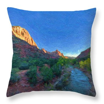 Throw Pillow featuring the photograph The Watchman Zion National Park by Bitter Buffalo Photography