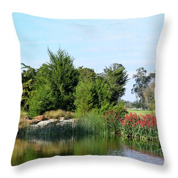 Throw Pillow featuring the photograph The Water On Number One Santa Maria Country Club by Barbara Snyder