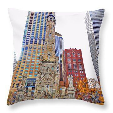 The Water Tower In Autumn Throw Pillow by Mary Machare
