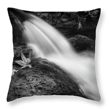 Throw Pillow featuring the photograph The Waterfall In Black And White  by Saija Lehtonen