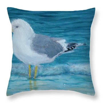 The Water's Cold Throw Pillow