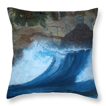 Throw Pillow featuring the painting The Wave by Betty-Anne McDonald
