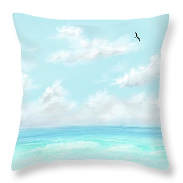 Throw Pillow featuring the digital art The Waves And Bird by Darren Cannell