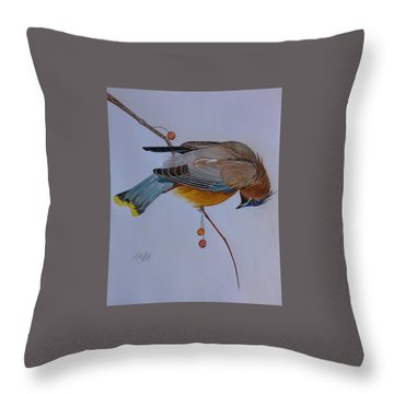 The Waxwing  Throw Pillow