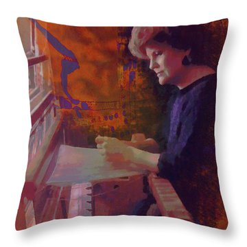 Throw Pillow featuring the photograph The Weaver by Kate Word