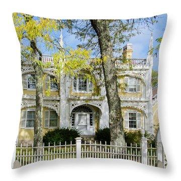 The Wedding Cake House - Kennebunk Maine Throw Pillow