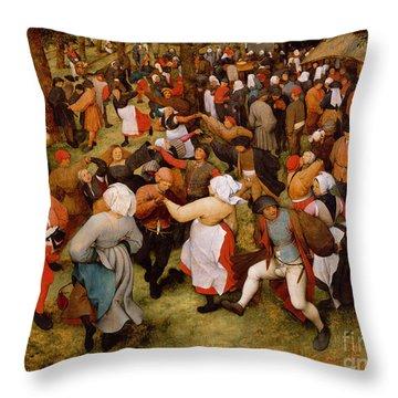 The Wedding Dance Throw Pillow by Pieter the Elder Bruegel