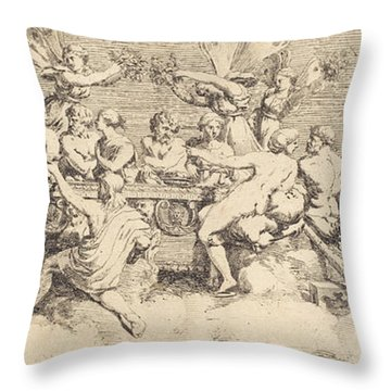 The Wedding Feast Of Cupid And Psyche Throw Pillow