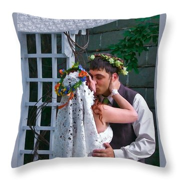 The Wedding Kiss Throw Pillow