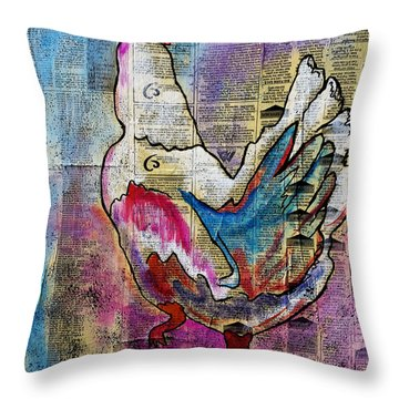 The Well Read Chicken Throw Pillow by Janice Rae Pariza