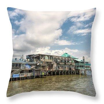 Throw Pillow featuring the photograph The Wharf At Cedar Key by John M Bailey