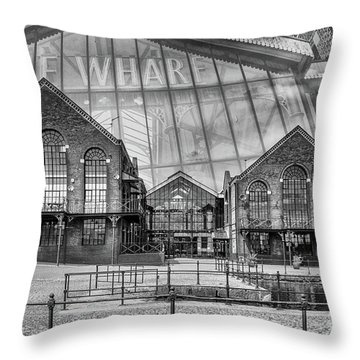The Wharf Cardiff Bay Mono Throw Pillow by Steve Purnell