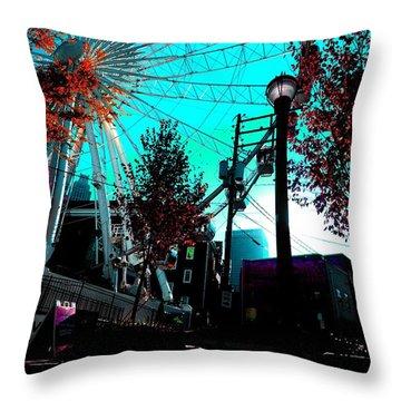 The Wheel Blue Throw Pillow