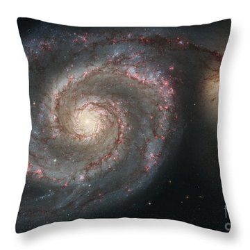 The Whirlpool Galaxy M51 And Companion Throw Pillow by Stocktrek Images