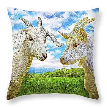 The Whispers Of Goats Throw Pillow by Joel Bruce Wallach