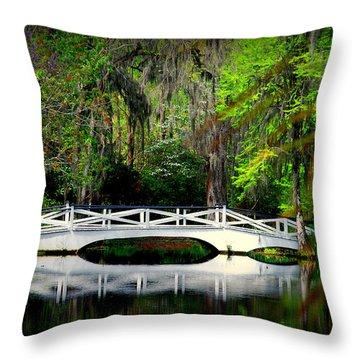 The White Bridge In Magnolia Gardens Sc Throw Pillow