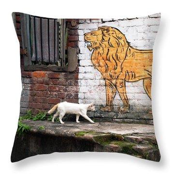 The White Cat Throw Pillow