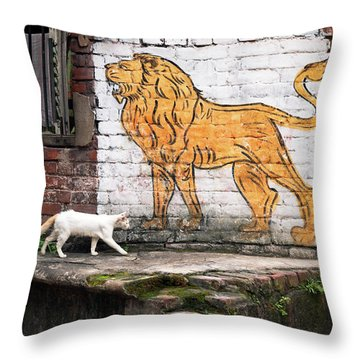 The White Cat Throw Pillow by Marji Lang