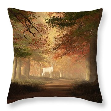 The White Elk Throw Pillow by Daniel Eskridge