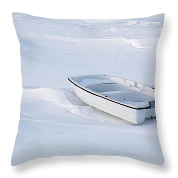 The White Fishing Boat Throw Pillow