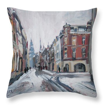 The White Grand Canal Street Maastricht Throw Pillow