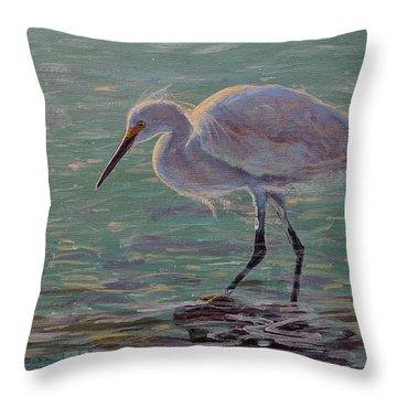 The White Heron Throw Pillow