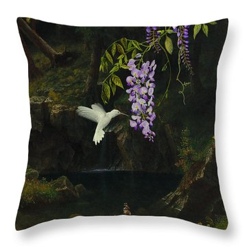 The White Hummingbird Throw Pillow