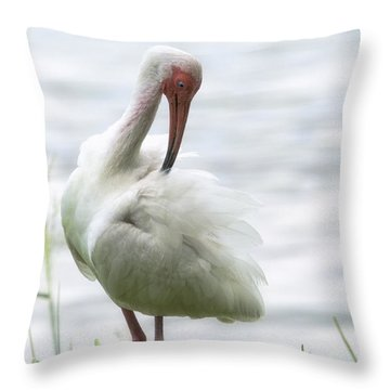 The White Ibis  Throw Pillow by Saija  Lehtonen