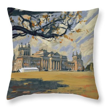 The White Party Tent Along Blenheim Palace Throw Pillow