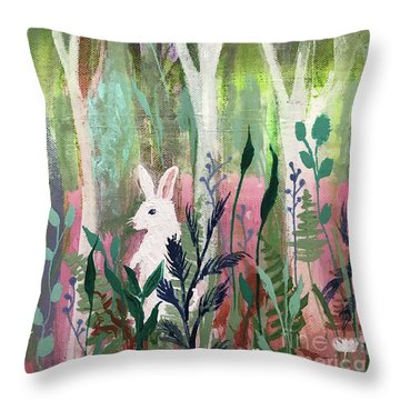 Throw Pillow featuring the painting The White Rabbit by Robin Maria Pedrero