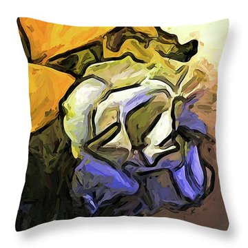 The White Rose And The Yellow Petals Throw Pillow