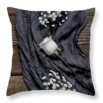 Throw Pillow featuring the photograph The White Rose by Kim Hojnacki