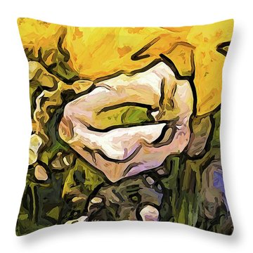 The White Rose With The Eye And Gold Petals Throw Pillow