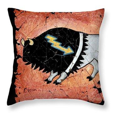 The White Sacred Buffalo Fresco Throw Pillow