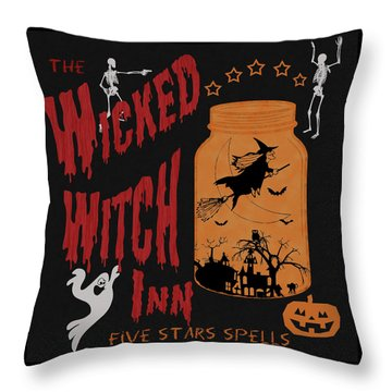 Throw Pillow featuring the painting The Wicked Witch Inn by Georgeta Blanaru