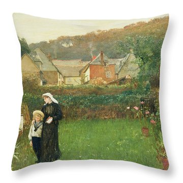 The Widow Throw Pillow by Charles Napier Hemy